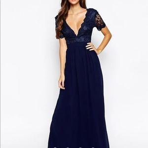Navy Maxi Dress with Scallop Lace Plunge